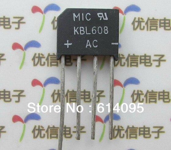 Free shipping KBL608 rectifier bridge rectifier 6A 800V 93524