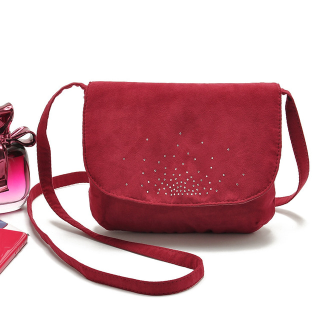 Women Bag Small Red Suede Crystal Studded Crossbody Messenger Bags Bolsos Handbags Famous Brand Designer Bolsa Feminina