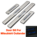 4PCS LED Door Sill Guards Stainless Steel Scuff Plate Welcome pedal For Mitsubishi Outlander 2007 2008 2009 2010 2011 2012