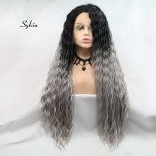 Sylvia термостойкие волокна длинные Омбре свободные волны волос парики серый синтетические кружева передние парики для женщин волос натуральный волос