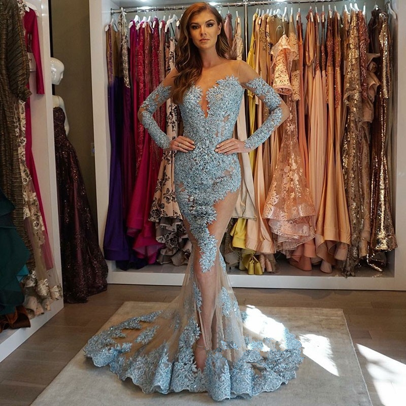 Fabulous New Mermaid   Evening     Dresses   2018 Scoop Neck Long Sleeves Sweep Train Appliques Tulle Formal   Dresses   Party Gowns Vestido