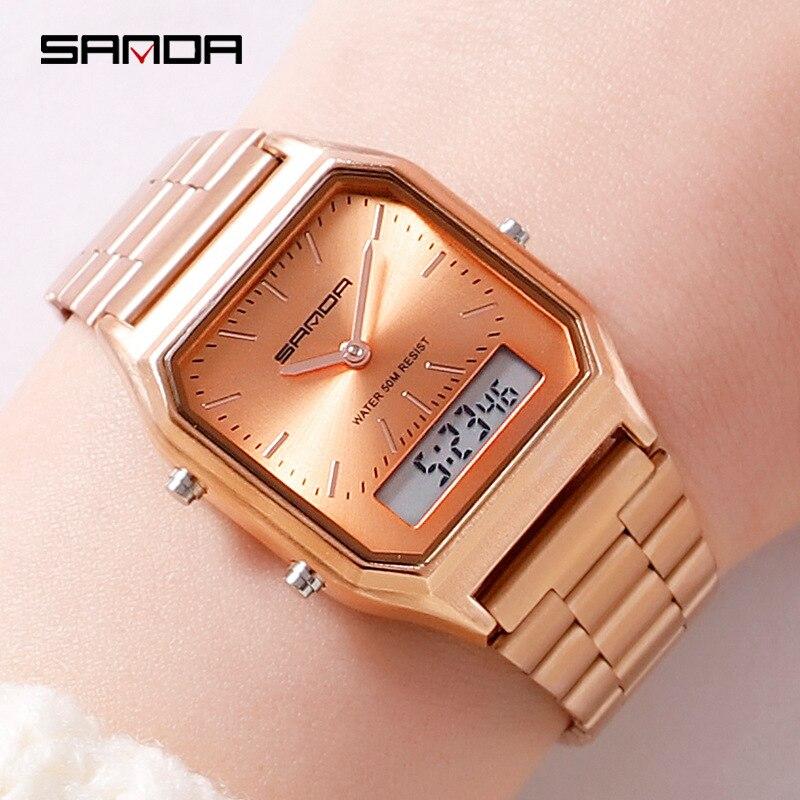 Fashion Women Watches Dual Display Analog Quartz Waterproof Rose Gold Wristwatch Sports LED Digital Clock Relogios Feminino 2019
