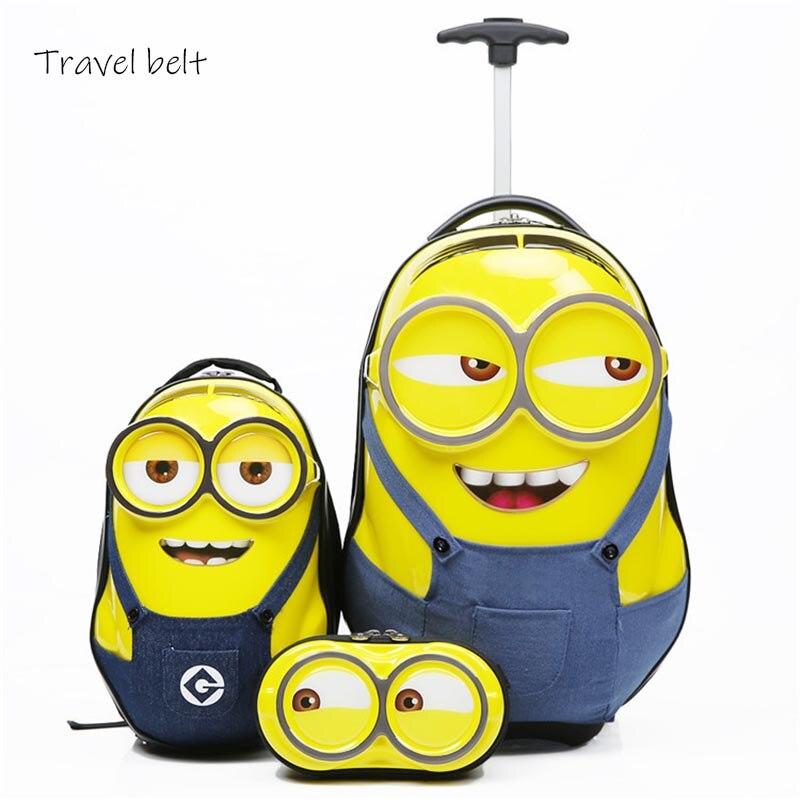 CARRYLOVE enfants mignons Minions roulant bagages ensembles Spinner enfants voyage sacs cabine Cartoon boîtier de chariot valise