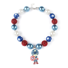 Captain America Charm Alloy Pendant Children Necklace 20mm Chunky Beads Strand Toddler Kids Jewelry Necklace Accessories WX1655