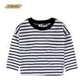2016 Spring Kids Baby T-shirts Boy Girls 100% Cotton Long-sleeve Black White Striped T-shirt Bottoming T shirt Children Top Tee