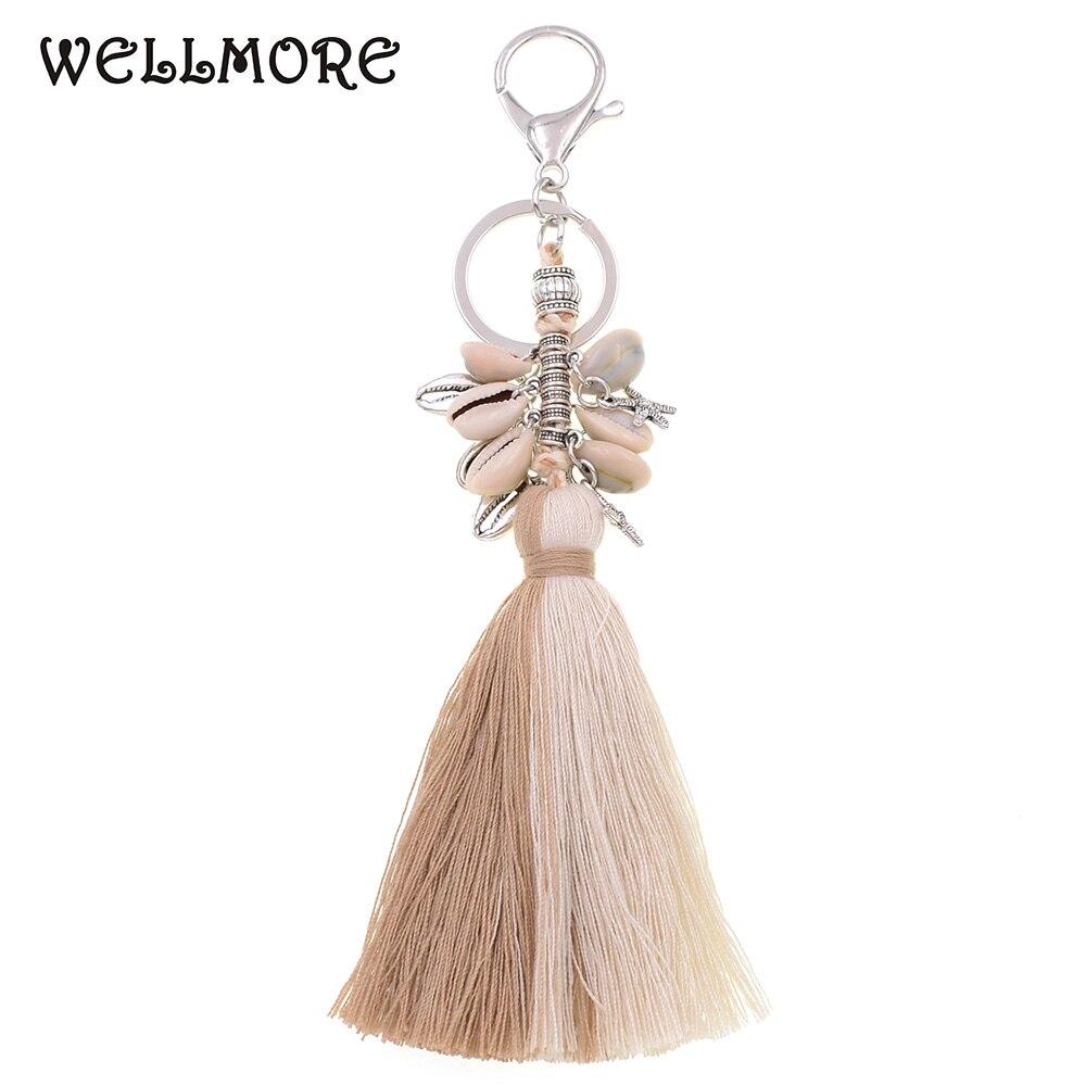 WELLMORE handmade bohemia shell with long tassel alloy Key Chain For Women Girl Bag Keychain