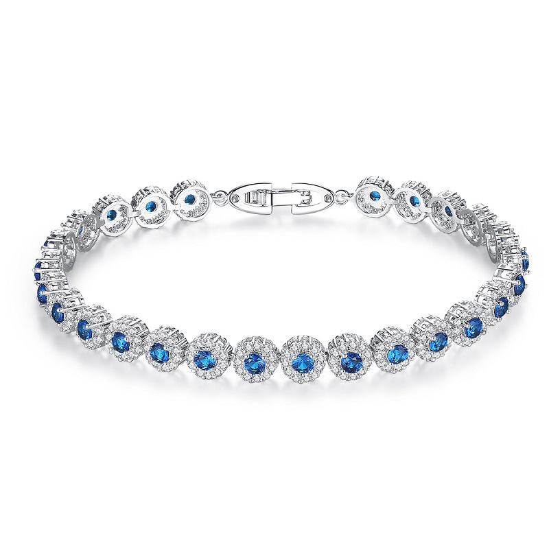 Women Trendy Bracelet 6.7'', 7.5'' Charm Cubic Zirconia Shiny Sea Blue Color Silver Tennis Bangle Bracelet Cute Gift for Ladies цена