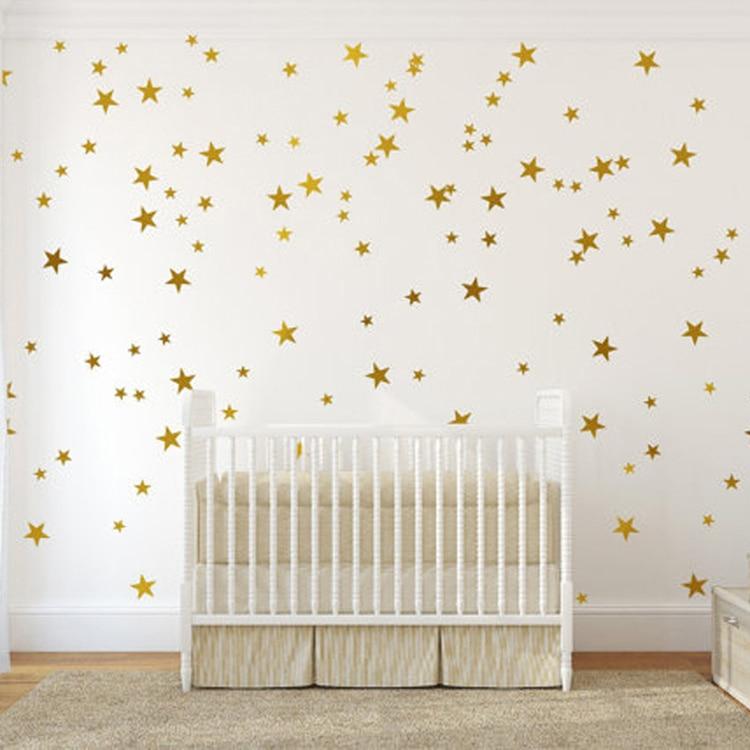 Buy One Get Free Star Wall Sticker DIY Art Decals Kids Bedroom Baby Nursery Home Decoration Gold Stars P61