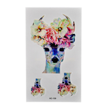Colorful Flower Water Transfer Deer Head Flash Waterproof Tattoos Tatoo Sticker Body Art