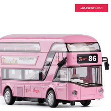Double Decker 1:32 Bus Toy Metal London Bus Transport The Doors Can Open With Music FLashing Pull Back Kids Gifts Free Shipping(China)