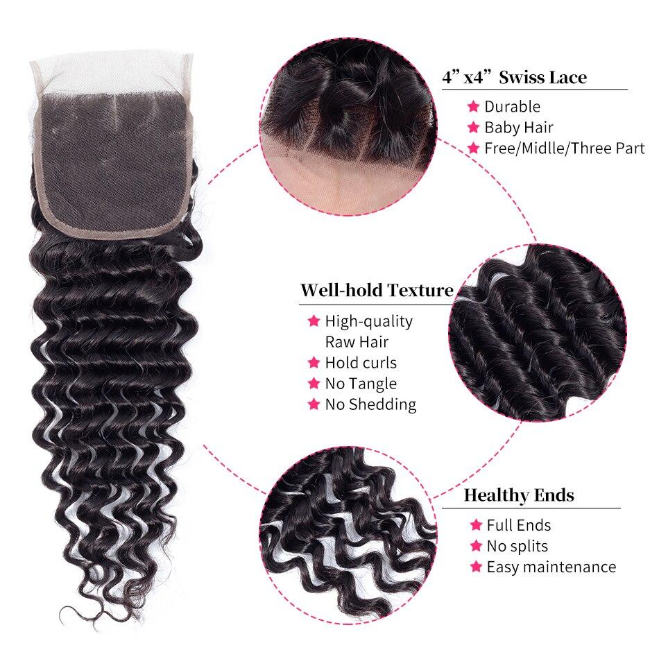 ガブリエル人間の髪のバンドル閉鎖ブラジルディープ波レース Clsoure で 3 バンドル自然な色非レミーの髪織り  グループ上の ヘアエクステンション & ウィッグ からの 3/4 バンドル留め具付き の中 2