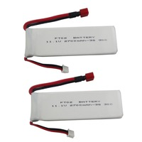 2PCS 11.1V 2700mah lithium battery for Feilun FT012 remote control speed boat s RC model car T head high rate lithium battery