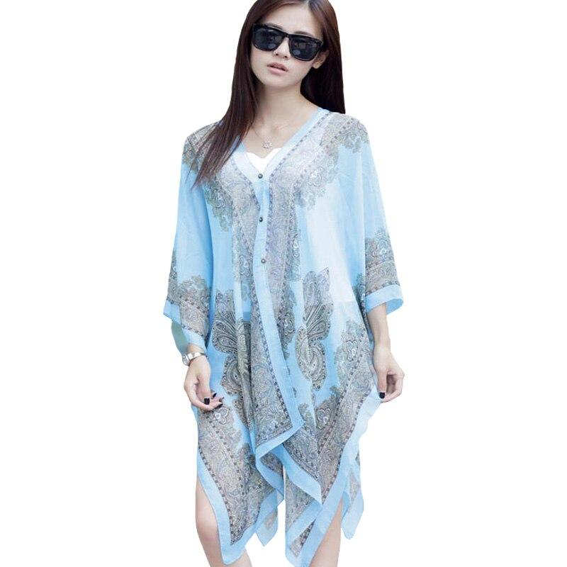 aadcc63a9af50 ... Beachwear Swimsuit Cover Up · Large Chiffon Sunscreen Beach Tunic Shawl  Scarfs Flower Poncho Cape Scarf Women Kaftan Kimono Bikini Beachwear