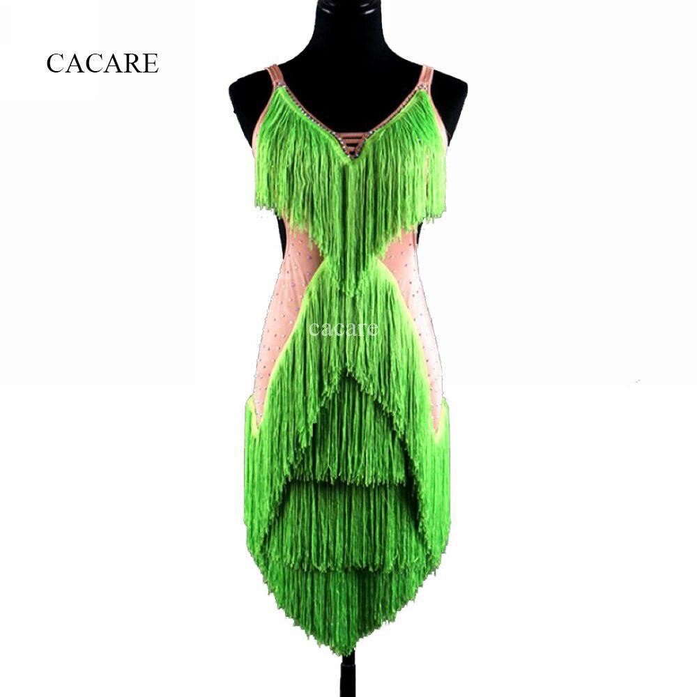 Latin Dance Dress Costumes Women Salsa Tango D367 Green with Bra Cup Underwear Tassels Rhinestones Backless