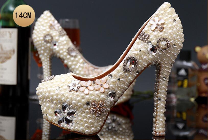 Pearl wedding shoe Women s fashion pumps sexy high heels shallow mouth shoes Crystal women Pumps