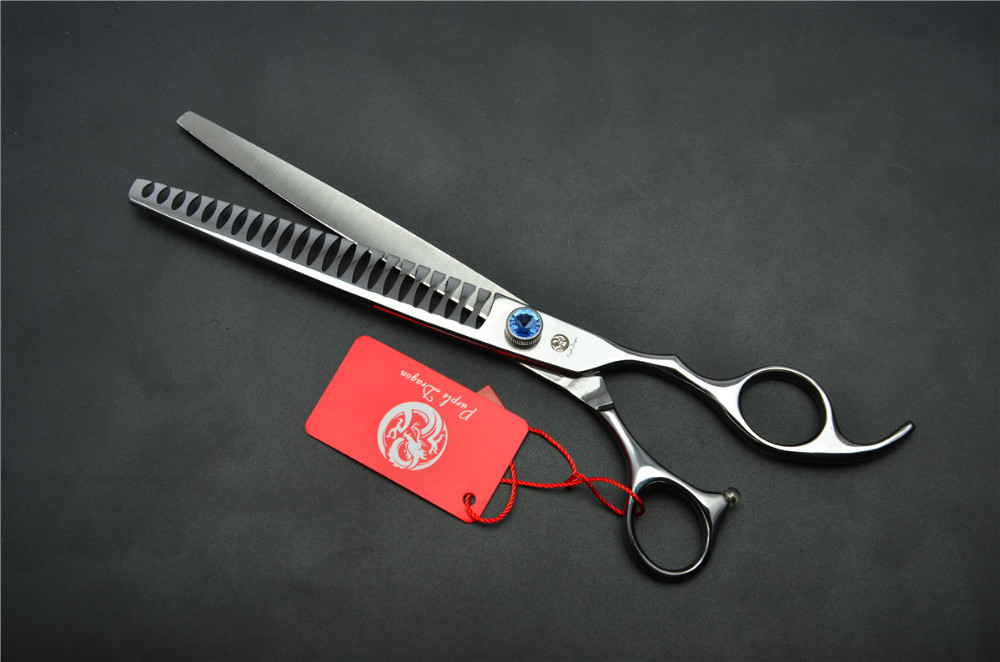 8.0'' 22.5cm Purple Dragon Professional Dogs Cats Pets Hair Shears Hairdressing Scissors 23 Teeth Fishbone Thinning Shears Z4004 5