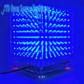 1set 8x8x8 3D LED LightSquared DIY Kit White LED Blue/Green/Pink Ray 3mm LED Cube Electronic Suite 5V power supply