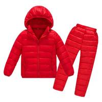 Kids Down Cotton Sportswear Clothes Set For Boys Girls Winter Thicken Down Jackets+Pants Overalls Suit 2018 New Baby Snowsuit