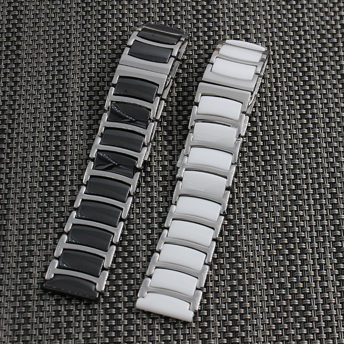 20mm 22mm Black New Mens Metal with Ceramic Watch Band Stainless Steel Bracelets For Smart Watch