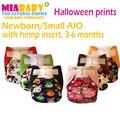 Miababy Ткань Пеленки/AIO и Карманные Пеленки Бамбук Древесный Уголь внутренней и Конопли вставки, подходит для 3-6 месяцев ребенка, хэллоуин печать