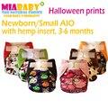 Miababy pañal de tela/aio y bolsillo pañal carbón de bambú insertar interior y el cáñamo, se adapta a 3-6 meses del bebé, halloween impresiones