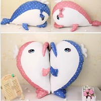 New Cute 1pc Big Size 60cm Wave Dolphin Color Whale Plush Toy Soft Stuffed Animals Doll Couple Heart Pillow Cushion Lovers Gifts