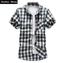 Plaid Shirt Short-Sleeve New-Style Casual Plus-Size Fashion Summer 5XL 6XL 7XL Men's