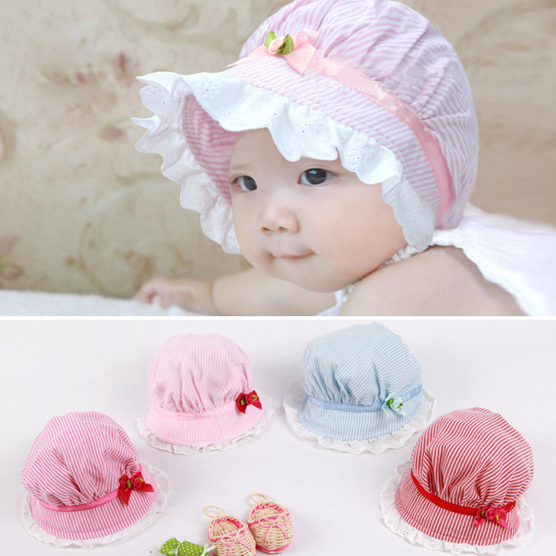 Cute Baby Girl Hat Infant Striped Lace Flower Sun Hat ...