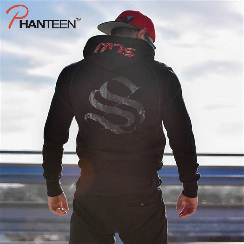Printed Letters SLW Men's Hoodie Running Hiking Fitness Male's Tracksuit 2019 Winter Hooded Long Sleeve Men's Outwear