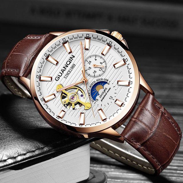 GUANQIN 2018 business watch men Automatic Luminous clock men Tourbillon waterproof Mechanical watch top brand relogio masculino