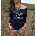 2016 New Women Letter Print Shirt Long Sleeve Cotton Sexy One Shoulder Casual T-Shirt Loose Tops  4Colors