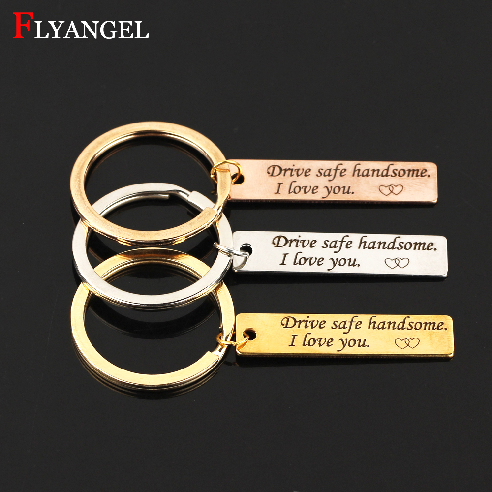 Fashion Jewelry Men Women Keyring Engraved Drive Safe handsome I Love You Heart For Couples Boyfriend Girlfriend Gifts Keychain pair of stylish engraved heart fringe earrings for women