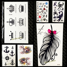 Chic Cute King Queen Crown Tattoo Sticker Waterproof Arm Hand Tatoo For Men Women Body Art Fake Temporary Tattoo Stickers GAQ020