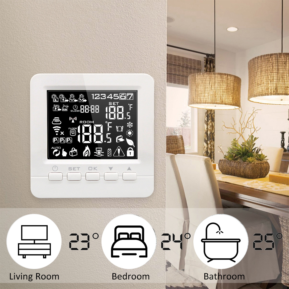 Programmable Smart WiFi Thermostat for Water/Gas Boiler Heating Floor Echo Alexa Voice Control Room Temperature Controller valve radiator linkage controller weekly programmable room thermostat wifi app for gas boiler underfloor heating