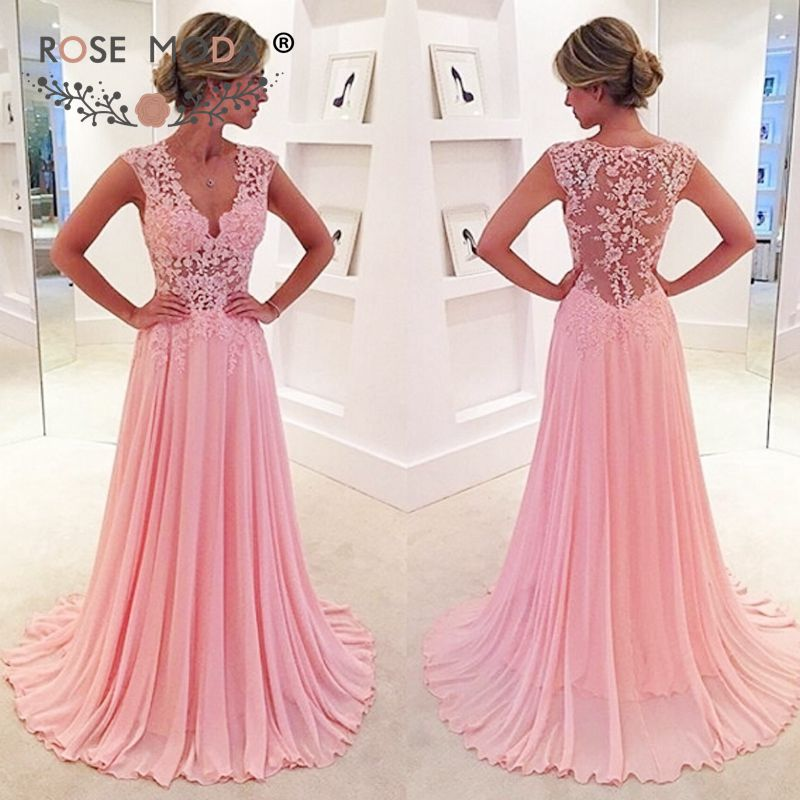 Prachtige V hals Mouwloos Zacht Roze Avondjurk met Illusion Lace Terug See Through Lace Top Party Dress Custom Made
