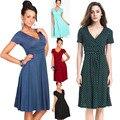 ПР беременных женщин платья грейс материнства одежды dress v шеи беременности твердого и точка платья летняя мода maternidad vestido