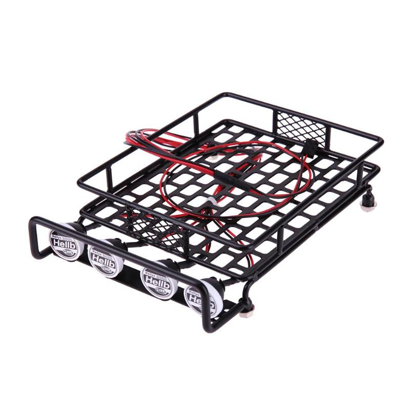 Metal Roof Rack Universal RC Vehicles Climbing Car Roof Large Luggage Rack with 4 LED Lights for HSP REDCAT AXAIL scx10 Traxxas