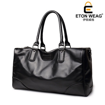 ETONWEAG Brand Cow Leather Traveling Bag Vintage Travel Bags Hand Luggage Black Zipper Duffle Bag Big Capacity Organizer Luggage