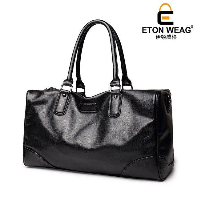 ETONWEAG Brand Cow Leather Traveling Bag Vintage Travel Bags Hand Luggage Black Zipper Duffle Bag Big Capacity Organizer Luggage