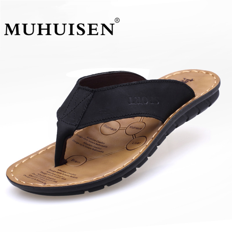 New Arrival Summer Cowhide Leather Men Flip Flops Shoes Genuine - Men's Shoes - Photo 3