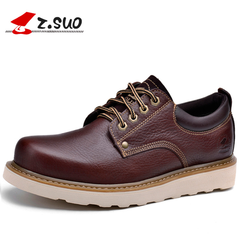 Z.Suo Men Leather Casual Shoes New 2017 Genuine Leather Oxfords Shoes Men Fashion Lace Up Dress Shoes Outdoor Work Shoe Sapatos