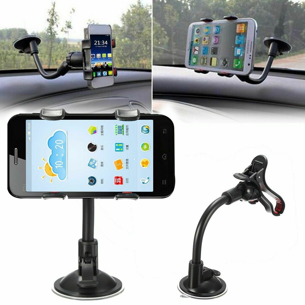 Universal 360 Degree Rotating Suction Cup Car Windshield Mobile Phone Holder GPS Stand Mount Cradle For Iphone Samsung Huawei