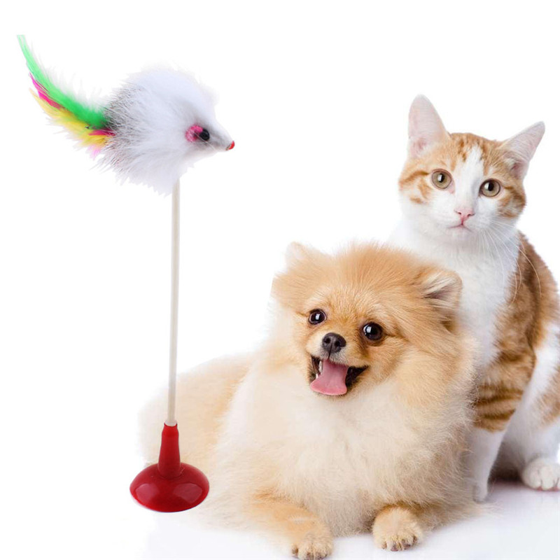 Hot 1pcs Funny Pet Cat Toys Feather False Mouse Bottom Sucker Cat Kitten Playing Toys Pet Seat Scratch Toy