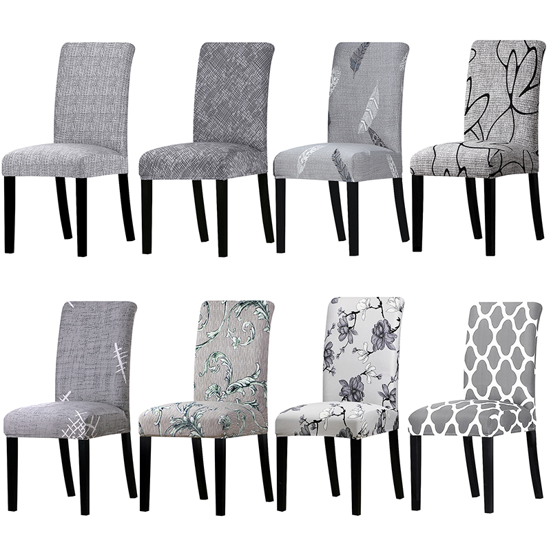 1 Piece All Grey Color Printed Chair Cover Washable Removable Big Elastic Seat Arm Covers Slipcovers Stretch For Banquet Hotel