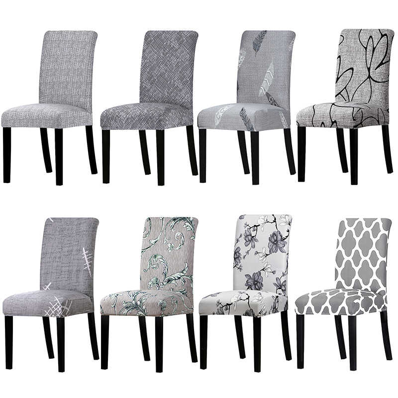 1 조각 그레이 컬러 인쇄 의자 커버 빨 수있는 이동식 큰 탄성 시트 암 커버 Slipcovers 연회 호텔에 대한 스트레칭