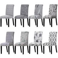 1 unidad  funda para silla con estampado de Color gris  lavable  extraíble  asiento elástico grande  fundas para brazo  fundas elásticas para Hotel banquete|Cubiertas de silla|Hogar y jardín -