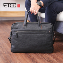 AETOO Men's handbag leather business casual single shoulder bag large capacity head layer cowhide computer Briefcase men s leather cross style square zipper handbag cowhide men s business package solid color large capacity briefcase