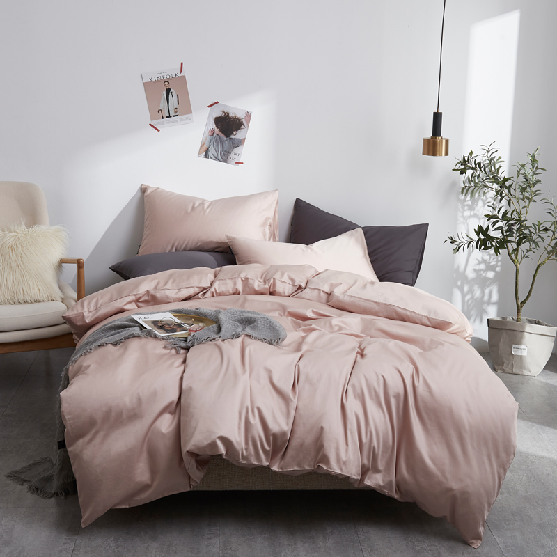 Luxury Egypt <font><b>Cotton</b></font> solid color <font><b>Bedding</b></font> <font><b>set</b></font> Silky Pure <font><b>Duvet</b></font> Cover <font><b>set</b></font> Single product bedsheet Pillowcases Twin Queen King Size image
