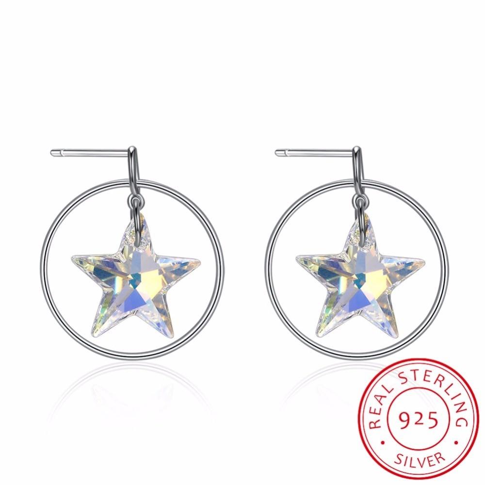 Bijoux fins faits avec des boucles d'oreilles en cristal Swarovski étoile véritable S925 boucles d'oreilles en argent Sterling cercle étoile pour les femmes cadeau