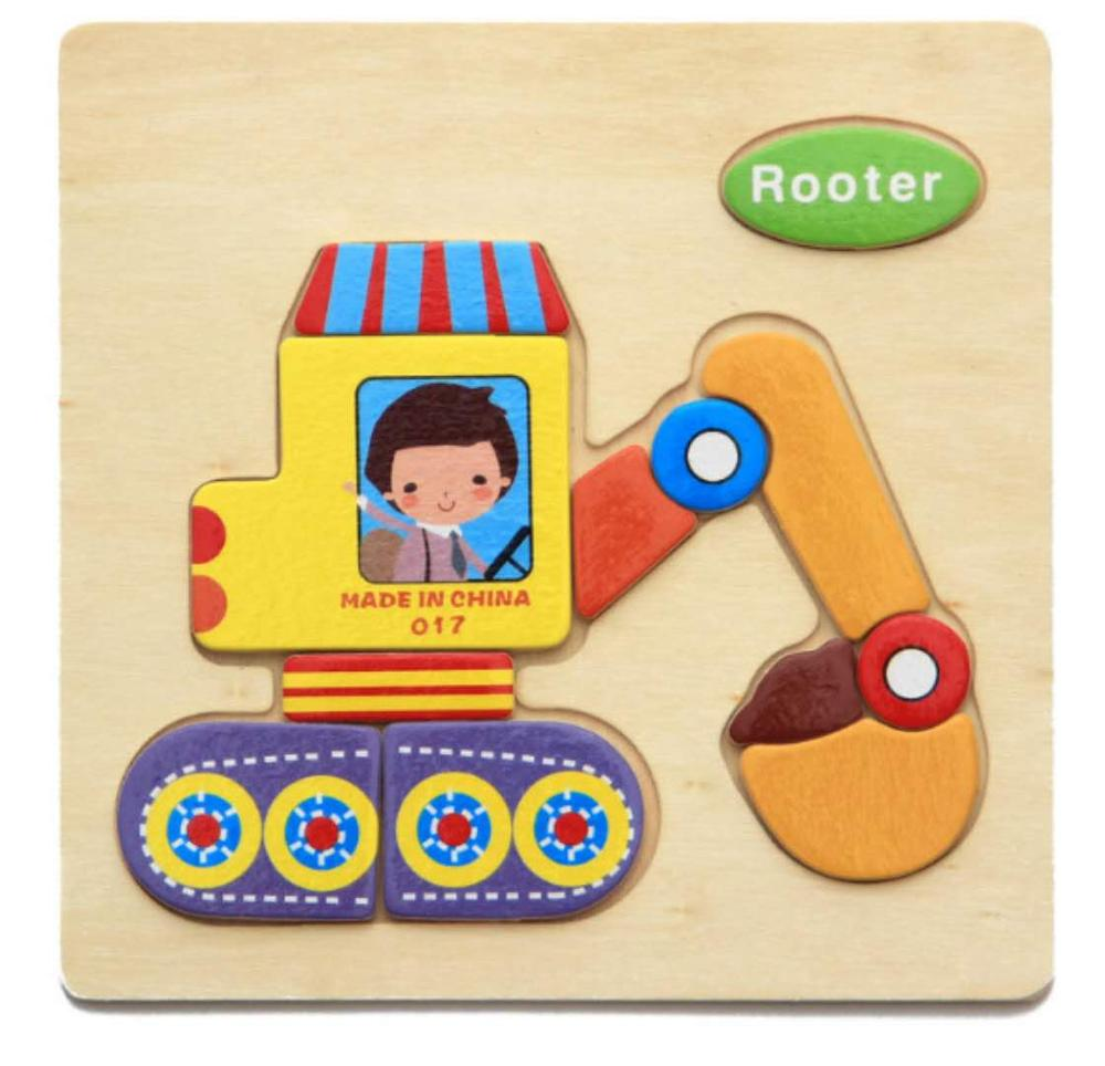 3D деревянные головоломки, игрушки для детей, Деревянные 3d Мультяшные головоломки с животными, интеллектуальные детские развивающие игрушки для детей - Цвет: Розовый